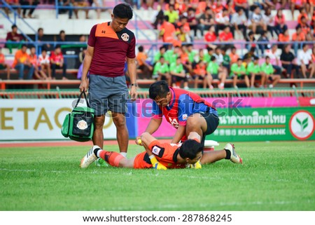 SISAKET THAILAND- JUNE 13:Player of Sisaket FC. injured during Friendly match between Sisaket FC and Buriram united at Sri Nakhon Lamduan Stadium on June 13,2015,Thailand
