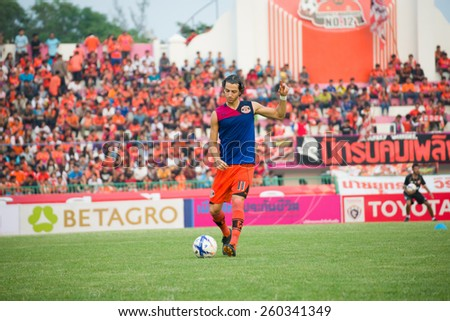 SISAKET THAILAND-MARCH 7: Stella Francesco of Sisaket FC. in action during a training ahead Thai Premier League between Sisaket FC and Gulf Saraburi FC at Sisaket on March 7,2015,Thailand - stock photo