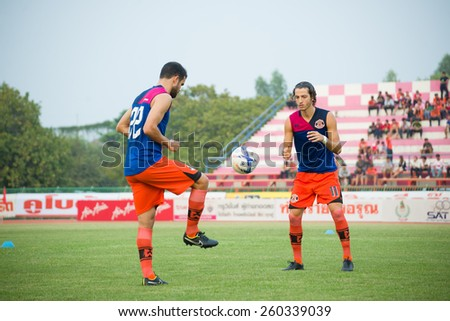SISAKET THAILAND-MARCH 7: Stella Francesco (right) of Sisaket FC. in action during Thai Premier League between Sisaket FC and Gulf Saraburi FC at Sri Nakhon Lamduan Stadium on March 7,2015,Thailand - stock photo