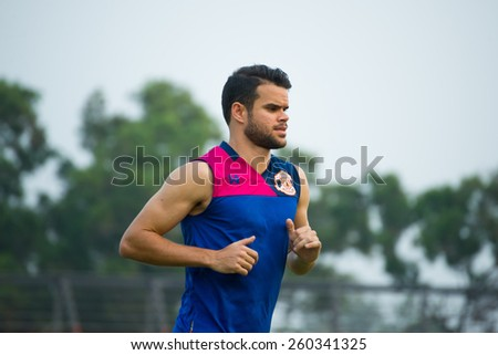 SISAKET THAILAND-MARCH 7: Victor Amaro of Sisaket FC. in action during a training ahead Thai Premier League between Sisaket FC and Gulf Saraburi FC at Sisaket on March 7,2015,Thailand - stock photo