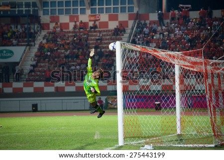 SISAKET THAILAND-MAY 3: Apiruk Worawong (GK) of Chiang rai united. in action during Thai Premier League between Sisaket FC and Chiang rai united at Sri Nakhon Lamduan Stadium on May 3,2015,Thailand - stock photo