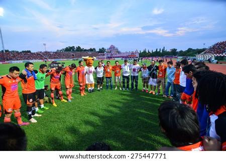 SISAKET THAILAND-MAY 3: Players of Sisaket FC unite for a team prior to Thai Premier League between Sisaket FC and Chiang rai united at Sri Nakhon Lamduan Stadium on May 3,2015,Thailand - stock photo