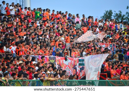 SISAKET THAILAND-MAY 3:  Sisaket FC Fans cheer during Thai Premier League between Sisaket FC and Chiang rai united at Sri Nakhon Lamduan Stadium on May 3,2015,Thailand - stock photo