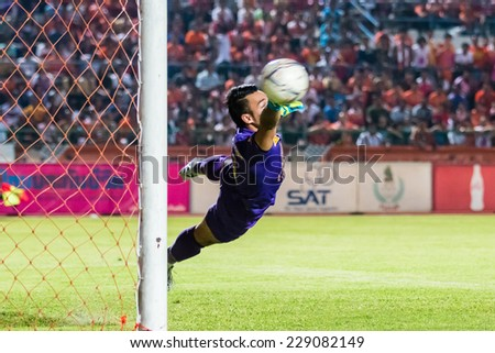 SISAKET THAILAND-OCTOBER 29: Sarawut Konglarp of Army Utd. in action during Thai Premier League between Sisaket FC and Army Utd at Sri Nakhon Lamduan Stadium on October 29,2014,Thailand - stock photo