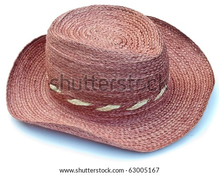 Sisal handcrafted hat isolated on white background