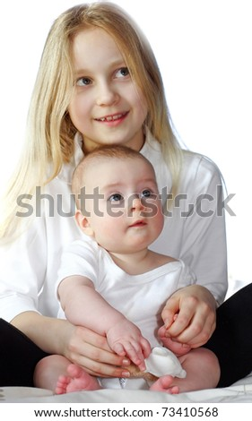 sister and brother - stock photo