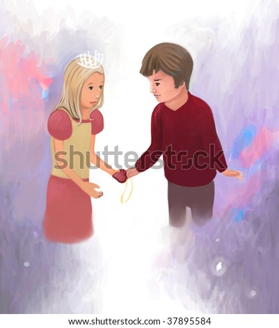 sister gives brother a gift (search the word nikos for more) - stock photo