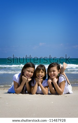 Sisters at the sea - stock photo