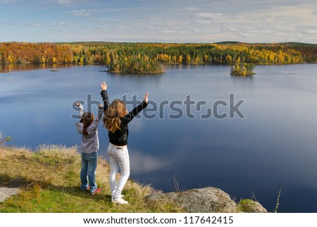Sisters freedom expression - stock photo