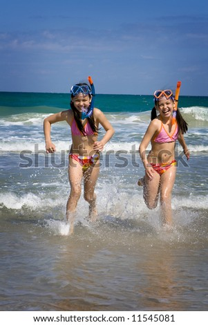 Sisters running out of water - stock photo