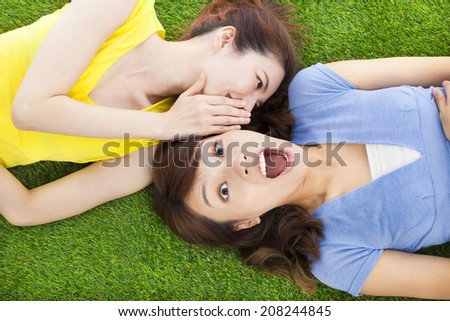 sisters whispering on the meadow and surprised expression - stock photo