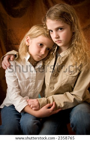 Sisters with emotion - stock photo