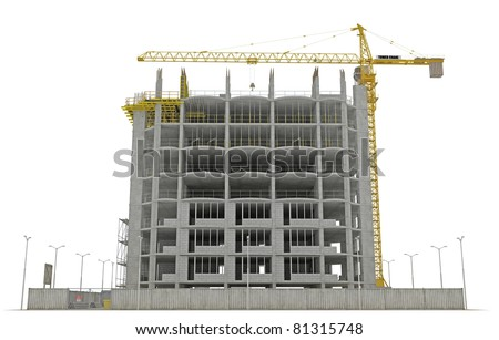 Site area: tower crane and unfinished buiding isolated over white
