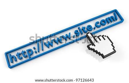 site.com URL string and hand cursor - stock photo