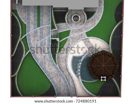 Site development plan isolated over white background, 3D rendering