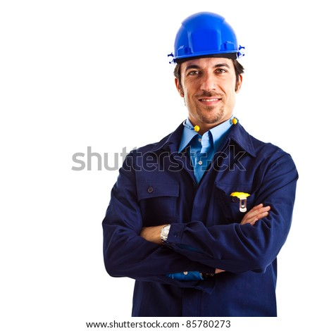 Site manager portrait. Isolated on white - stock photo