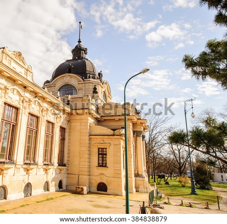 Site of the Szechenyi Thermal Bath in Budapest, Hungary - stock photo
