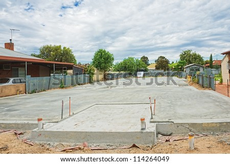 Site preparation for the house foundation - stock photo
