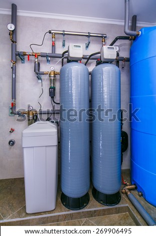 site wastewater treatment system with sensors and indicators. - stock photo