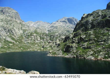 Sites of Madmen and Mirrored, national park of Mercantour, in the department of the maritime Alps, France - stock photo