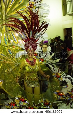 SITGES,  SPAIN - FEBRUARY 10, 2016:   Carnival at Sitges in night time.  Catalonia, Spain