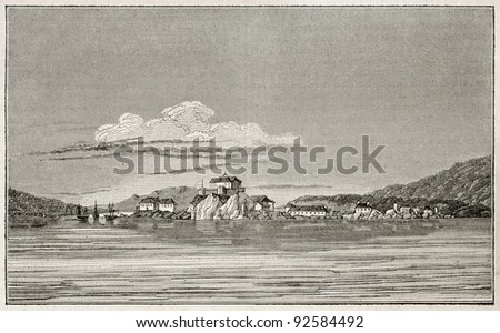 Sitka old view, Alaska (formerly New Archangel during Russian rule). By unidentified author, published on Magasin Pittoresque, Paris, 1845 - stock photo