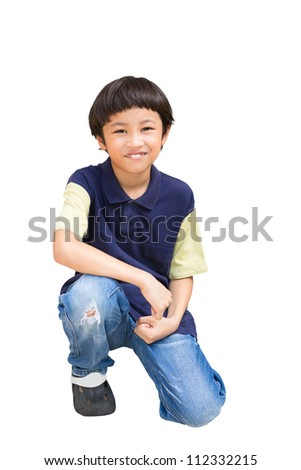 Sitting asian boy, Isolated on white with clipping path - stock photo