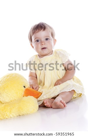 Sitting Baby Girl over white background