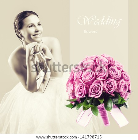 Sitting beauty bride in white dress with shoes in her hands and pink roses wedding bouquet - stock photo
