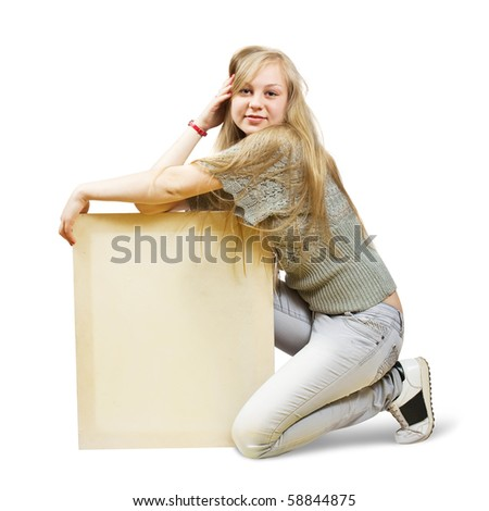 Sitting blonde girl holds empty poster over white - stock photo