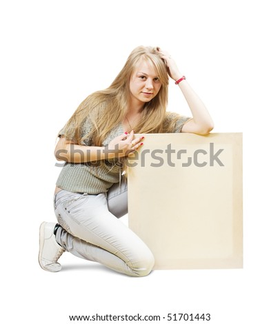 Sitting blonde girl with empty poster over white - stock photo