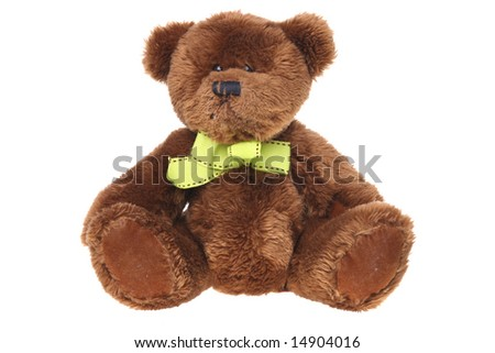 Sitting Brown Teddy Bear Isolated on White Ground - stock photo