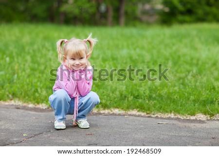 sitting child - stock photo