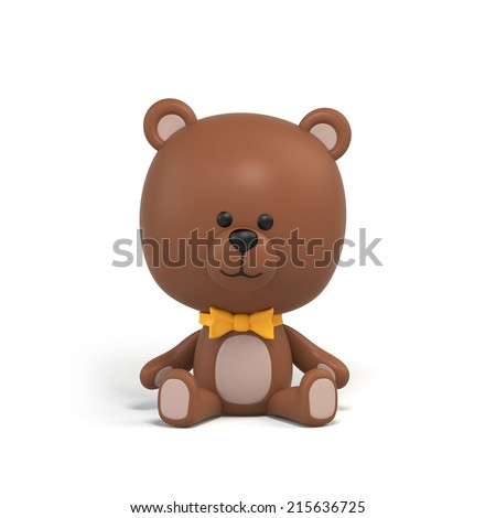 sitting chocolate teddy bear illustration, toy clip art isolated on white, 3d cartoon character design - stock photo