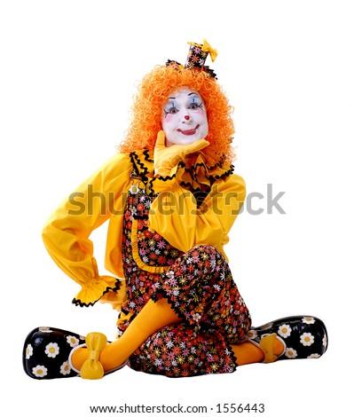 Sitting Female Circus Clown - stock photo
