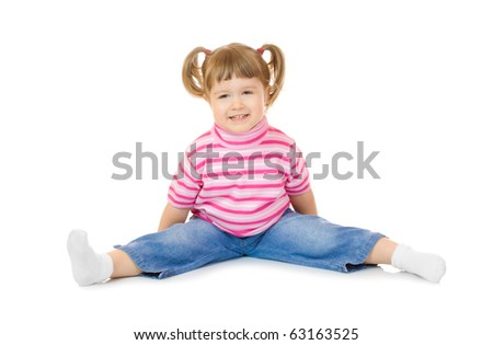 Sitting funny little girl isolated