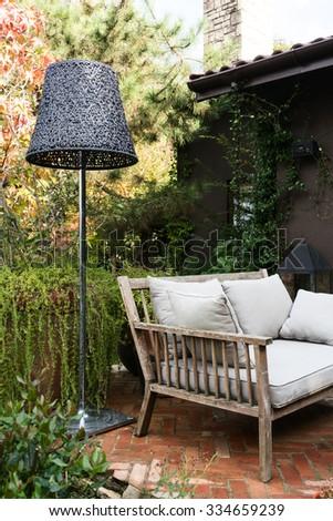 Sitting furniture  in garden  - stock photo