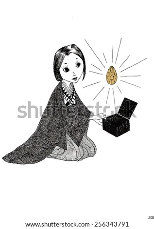 Sitting girl in Kimono holding a box with a golden fir cone - stock photo