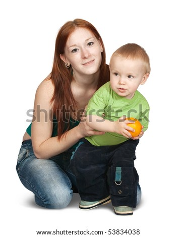sitting happy mother with her son . Isolated over white - stock photo