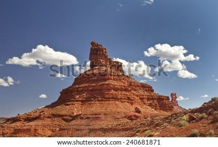 Sitting Hen Butte in Valley of the Gods in San Juan County Utah. - stock photo