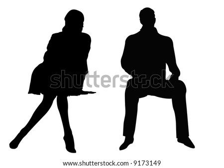 sitting male and female couple - stock photo