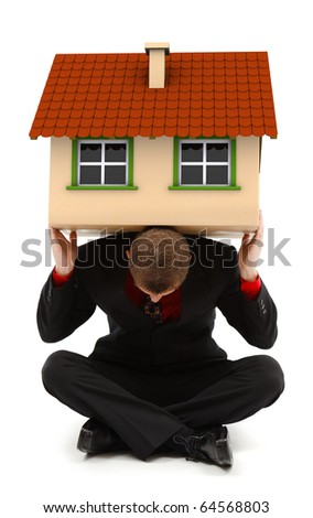 Sitting man holding a house on his back. Conceptual view of a family man, insurance or carrying alone the costs of a whole house - stock photo