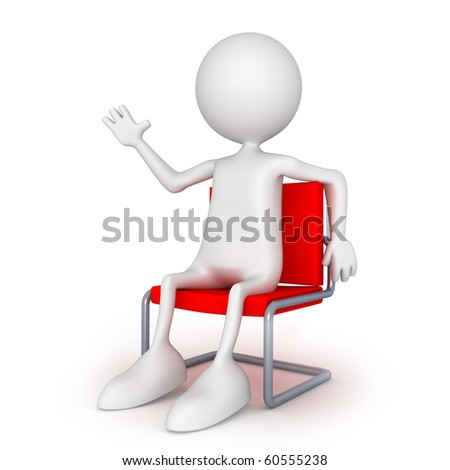 Sitting on easy chair. 3d image isolated on white background. - stock photo