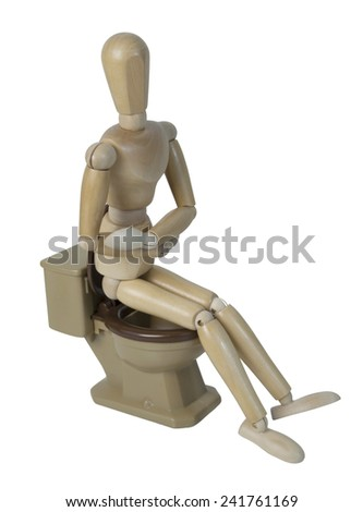 Sitting on toilet with stomach pain - path included - stock photo