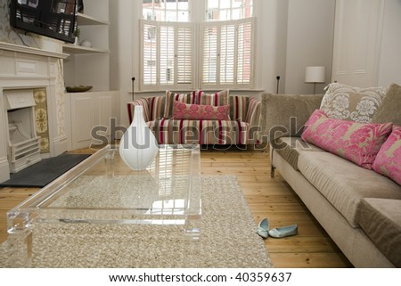 sitting room that has been designed by expert interior designers - stock photo
