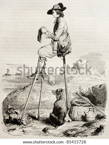 Sitting stilt man old illustration (Shepherd watching his cattle). Created by Lepoitevin, published on Magasin pittoresque, Paris, 1842 - stock photo