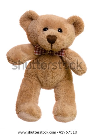 Sitting teddy bear isolated on a white - stock photo