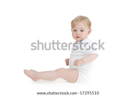 Sitting toddleron white background.