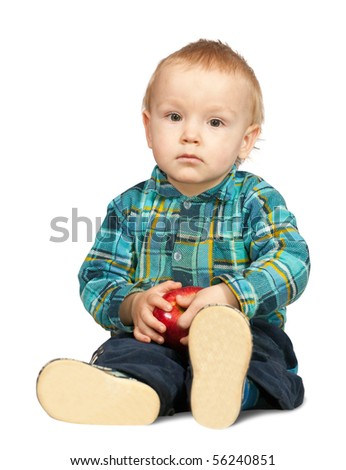 Sitting two-year boy in  chequered shirt, isolated on white - stock photo