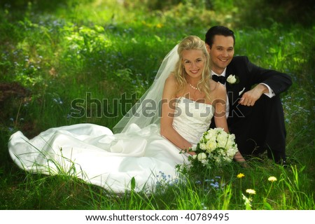 Sitting Wedding Couple - stock photo